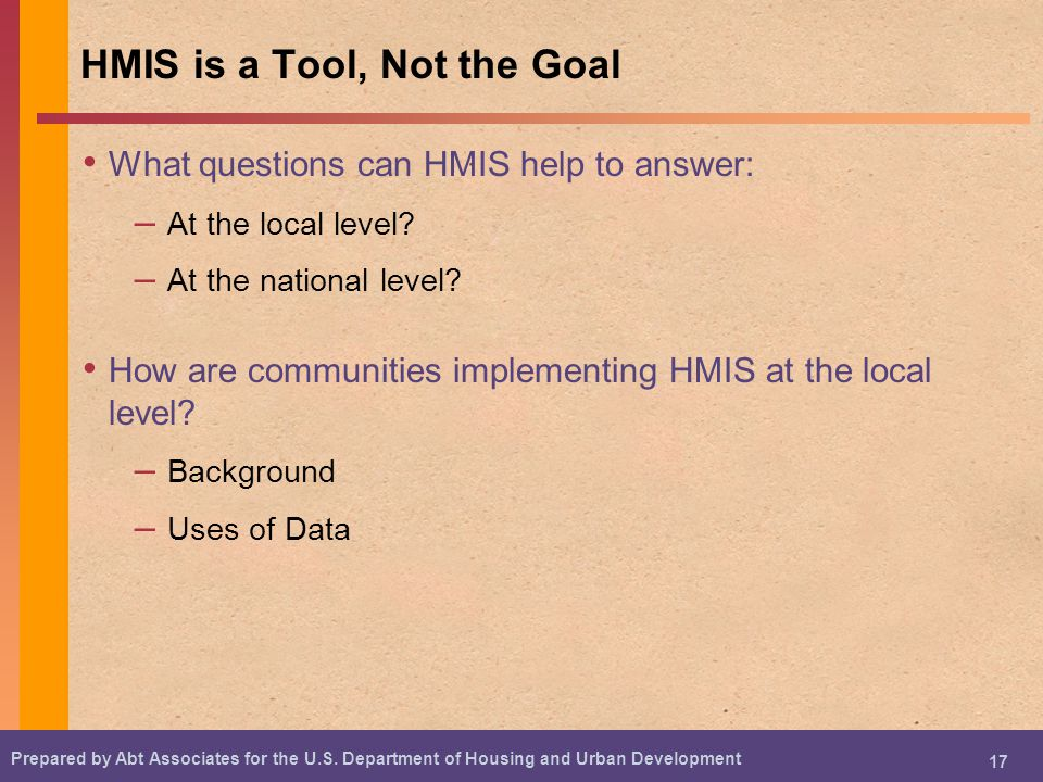 HMIS is a Tool, Not the Goal