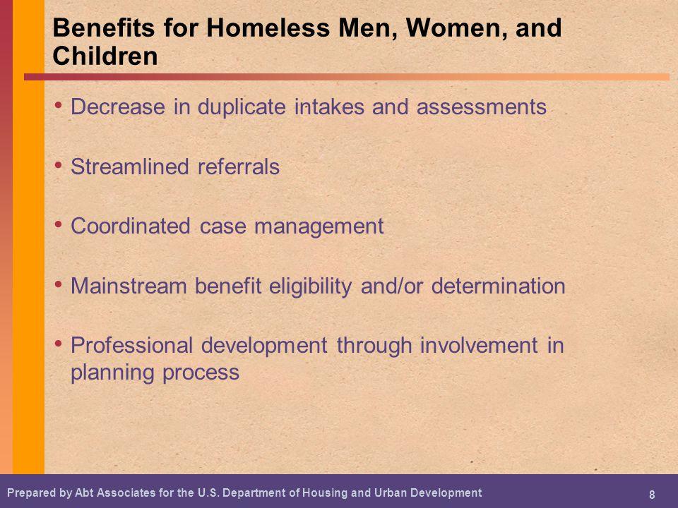 Benefits for Homeless Men, Women, and Children
