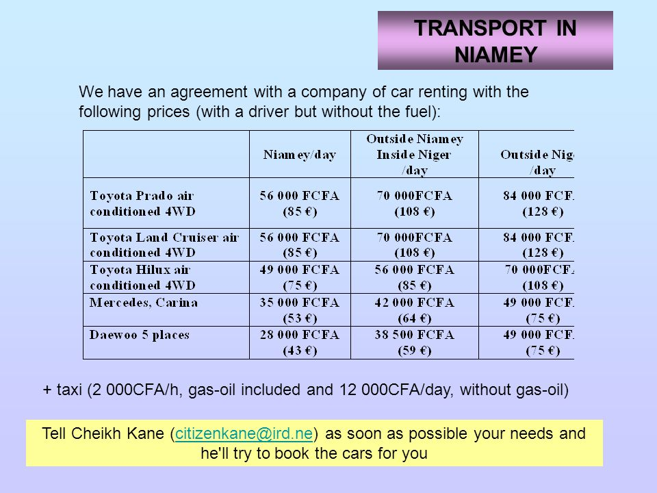 TRANSPORT IN NIAMEY We have an agreement with a company of car renting with the following prices (with a driver but without the fuel):