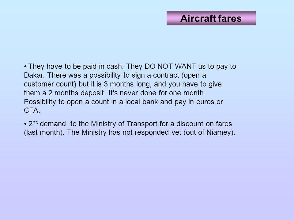 Aircraft fares