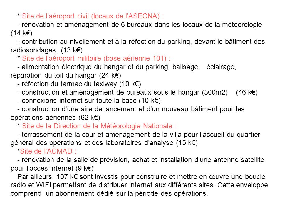 * Site de l'aéroport civil (locaux de l'ASECNA) :