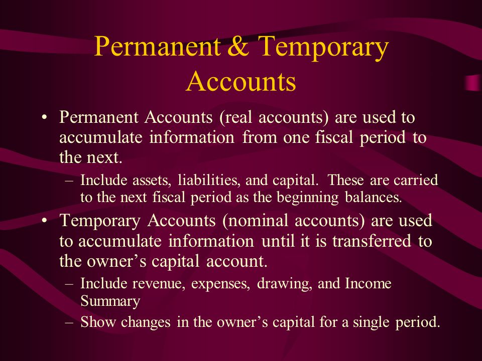 Permanent & Temporary Accounts
