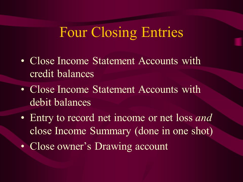 Four Closing Entries Close Income Statement Accounts with credit balances. Close Income Statement Accounts with debit balances.