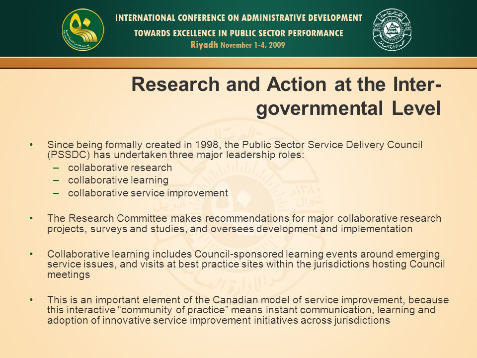 Research and Action at the Inter-governmental Level