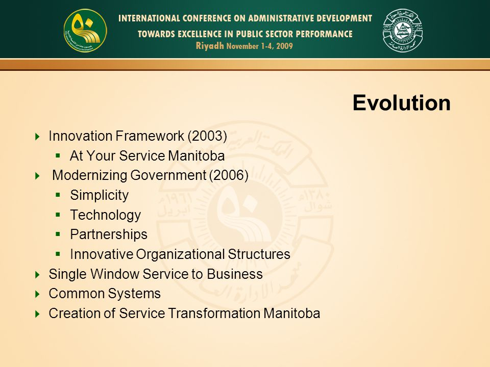 Evolution Innovation Framework (2003) At Your Service Manitoba