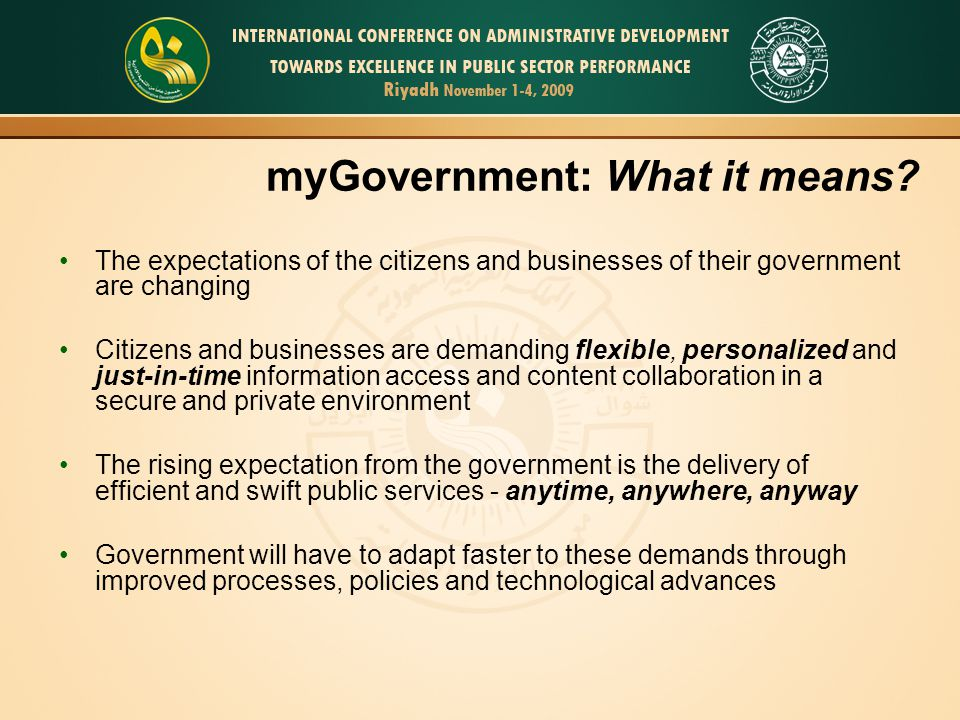 myGovernment: What it means
