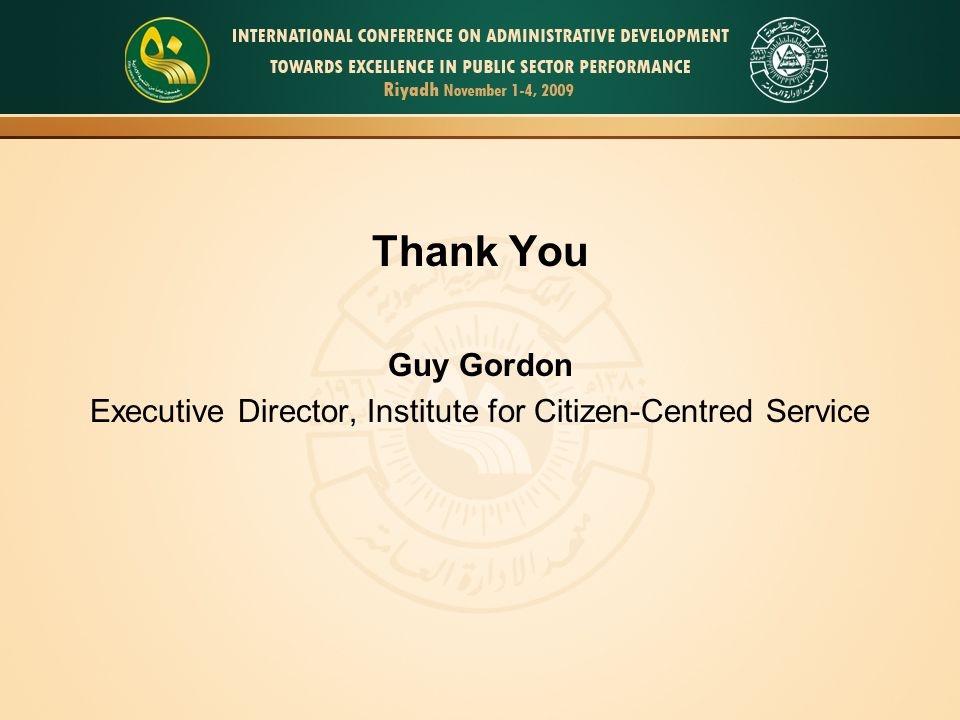Executive Director, Institute for Citizen-Centred Service