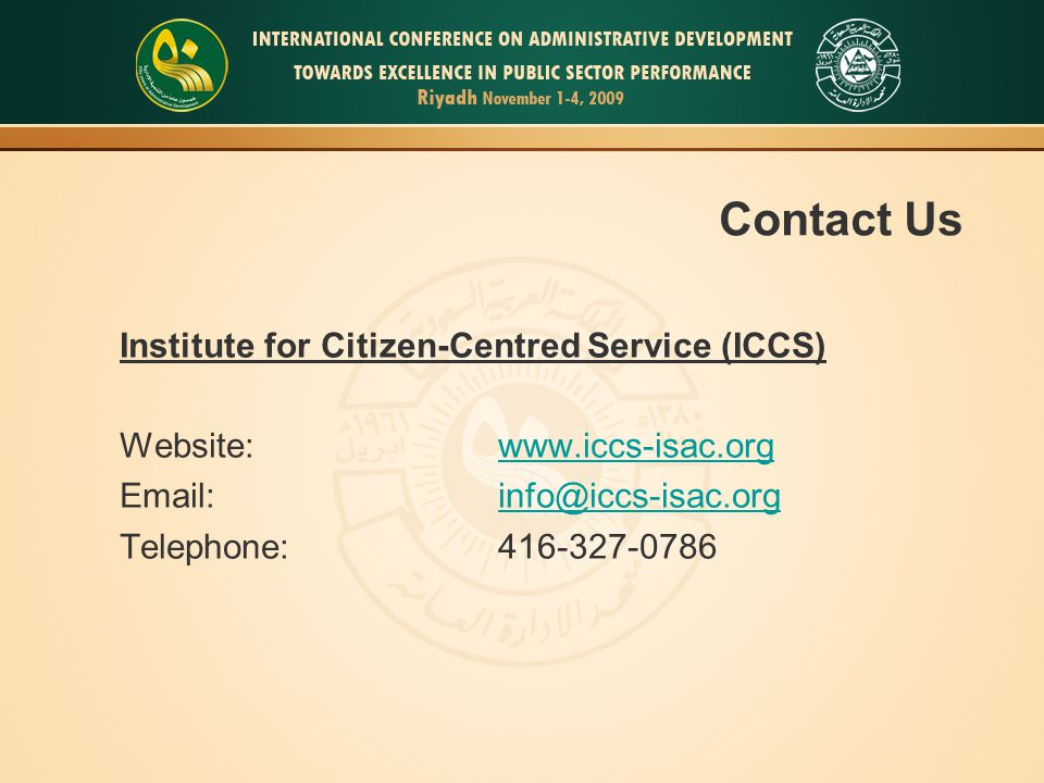 Contact Us Institute for Citizen-Centred Service (ICCS)
