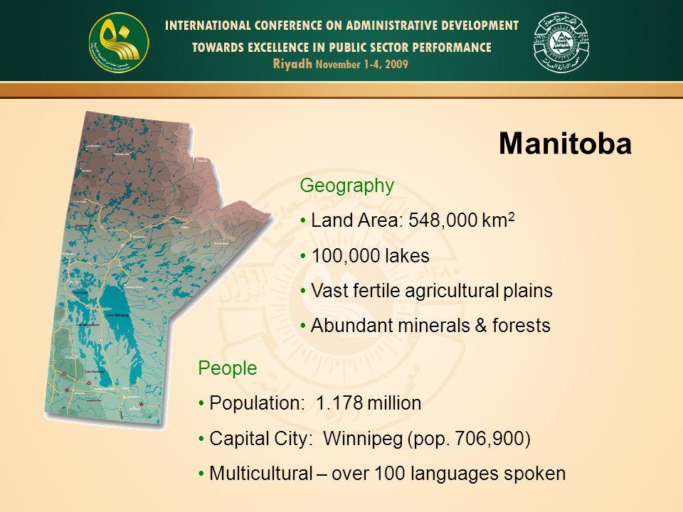 Manitoba Geography Land Area: 548,000 km2 100,000 lakes