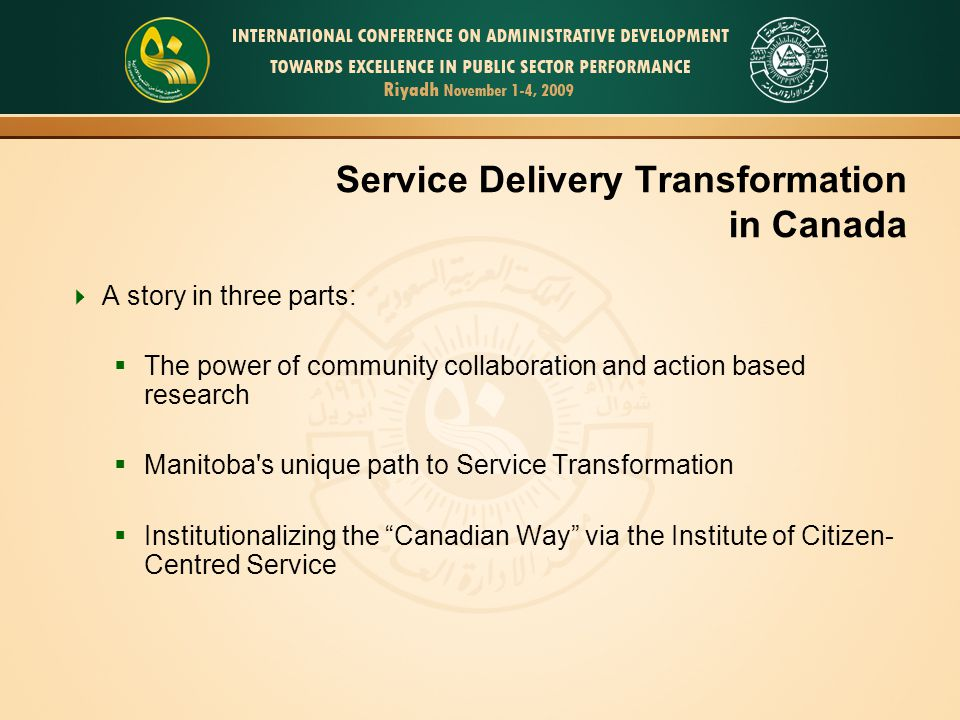 Service Delivery Transformation in Canada