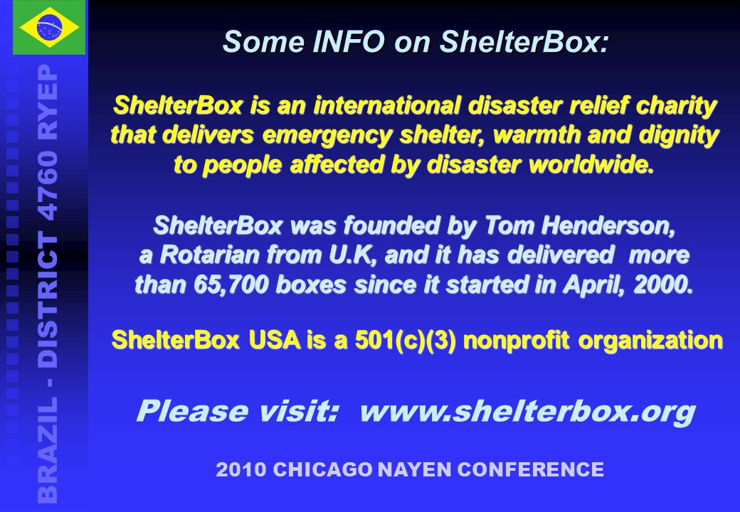Some INFO on ShelterBox: