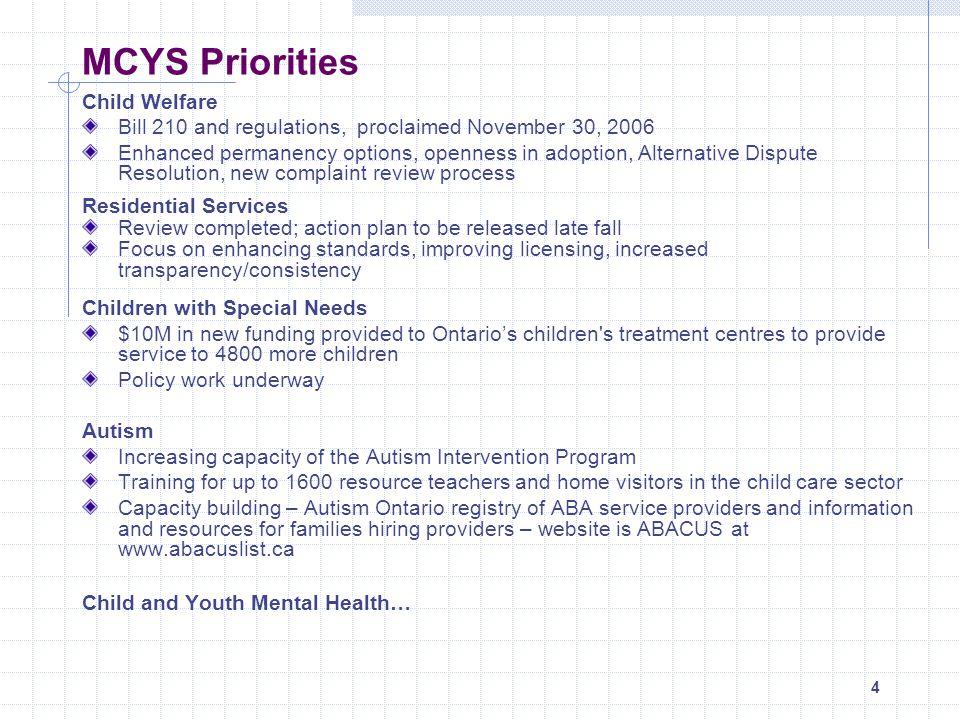 MCYS Priorities Child Welfare