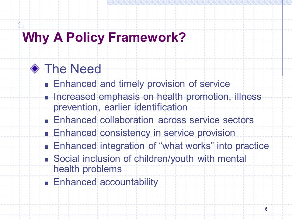 Why A Policy Framework The Need