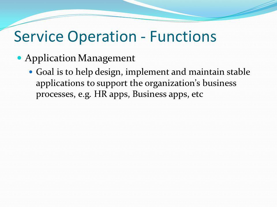 Service Operation - Functions