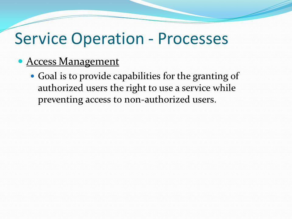 Service Operation - Processes