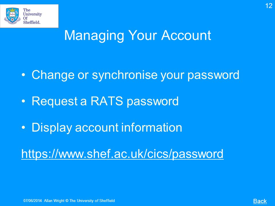Managing Your Account Change or synchronise your password