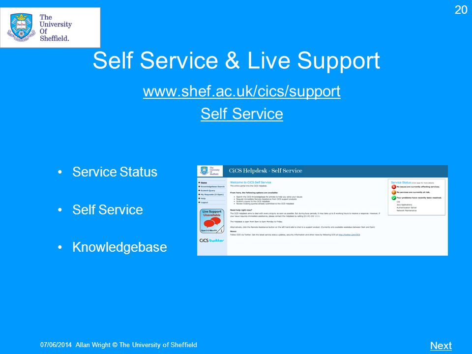 Self Service & Live Support
