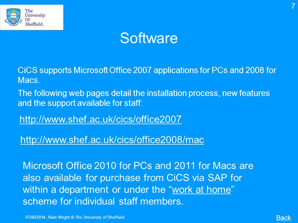 Software http://www.shef.ac.uk/cics/office2007