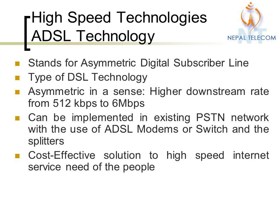 High Speed Technologies ADSL Technology