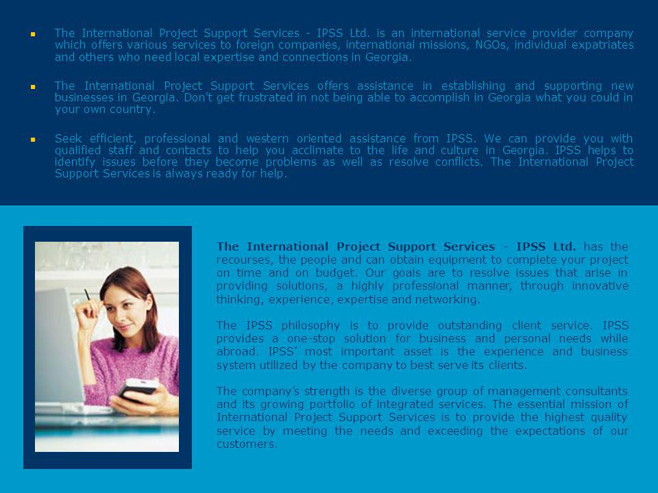 The International Project Support Services - IPSS Ltd