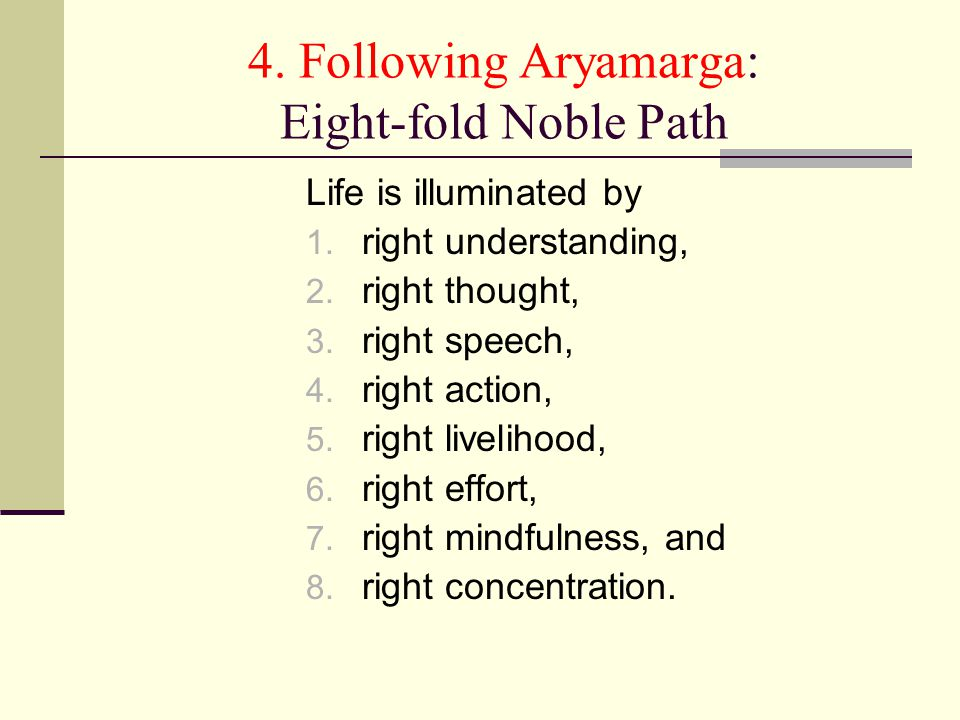 4. Following Aryamarga: Eight-fold Noble Path