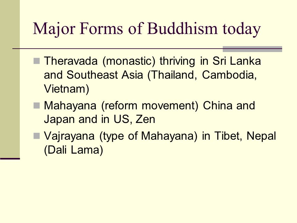 Major Forms of Buddhism today