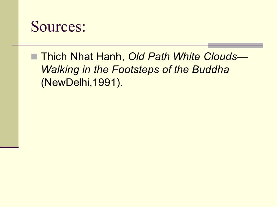 Sources: Thich Nhat Hanh, Old Path White Clouds—Walking in the Footsteps of the Buddha (NewDelhi,1991).