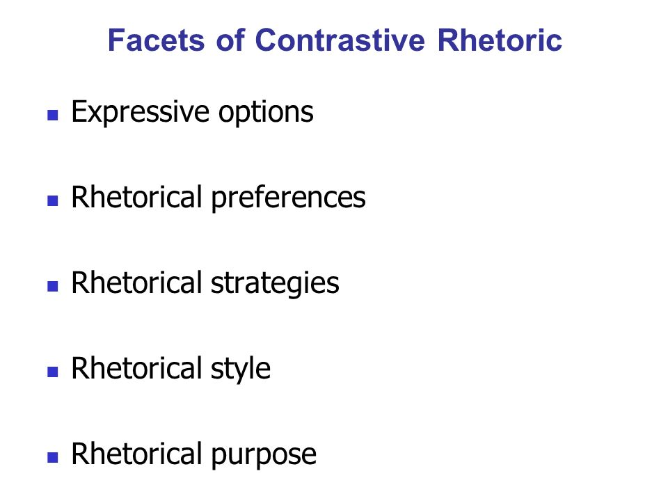 Facets of Contrastive Rhetoric
