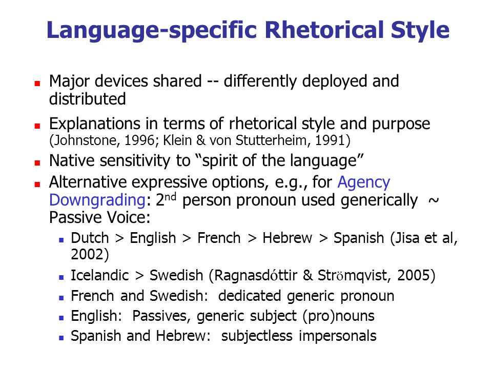 Language-specific Rhetorical Style