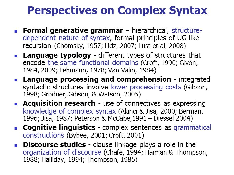Perspectives on Complex Syntax