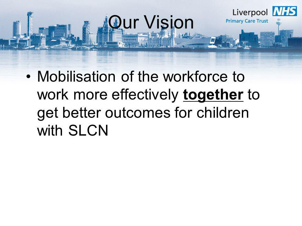 Our Vision Mobilisation of the workforce to work more effectively together to get better outcomes for children with SLCN.