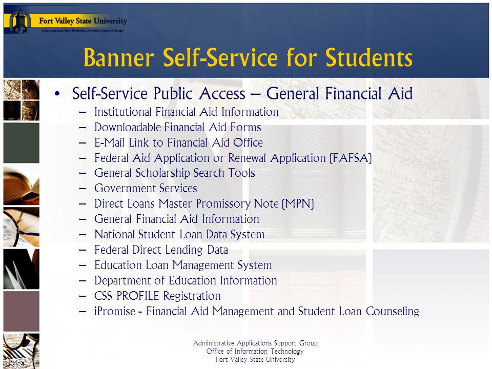 Banner self service for students ppt video online download - Student financial aid office ...