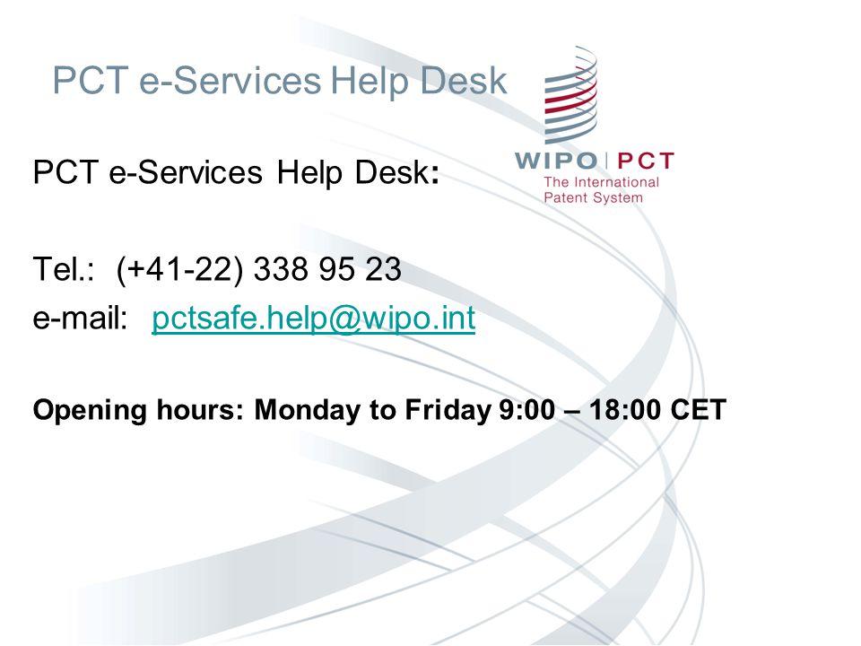 PCT e-Services Help Desk