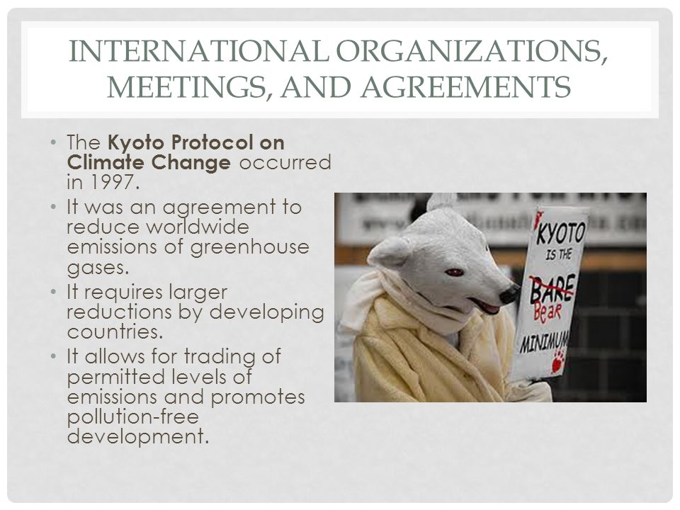 International Organizations, Meetings, and Agreements