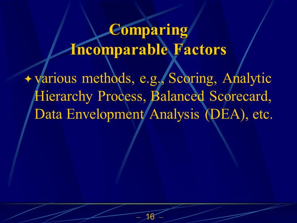 Comparing Incomparable Factors