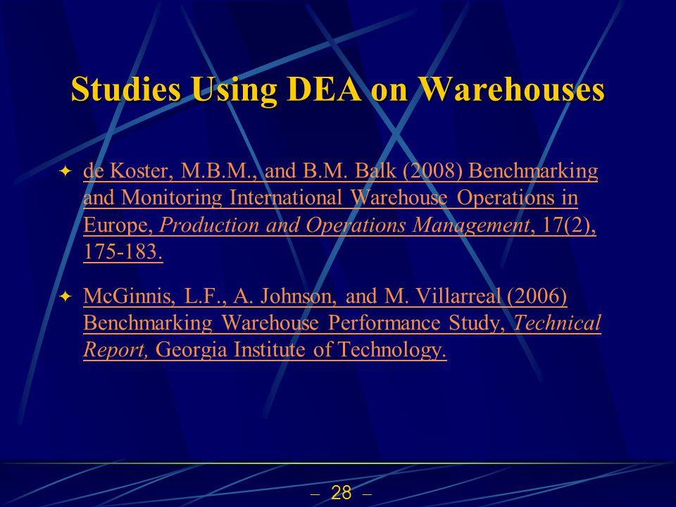 Studies Using DEA on Warehouses