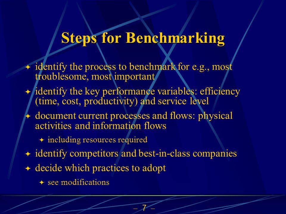 Steps for Benchmarking