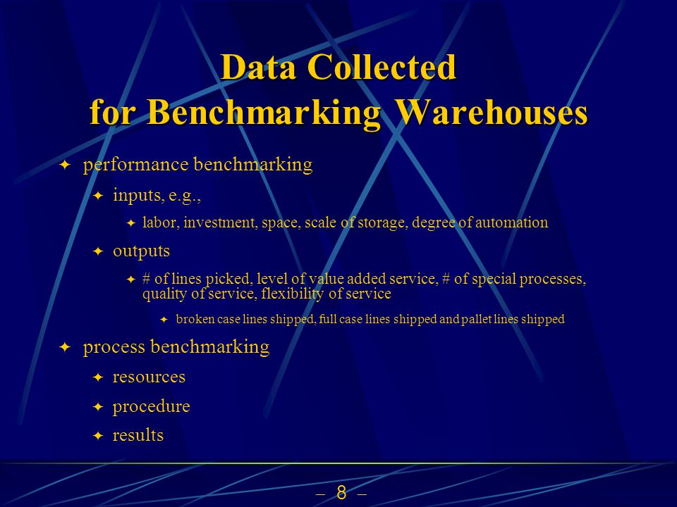 Data Collected for Benchmarking Warehouses