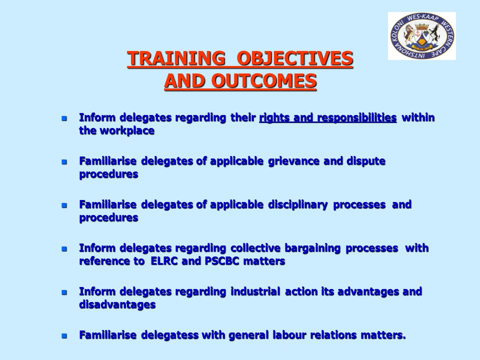 TRAINING OBJECTIVES AND OUTCOMES