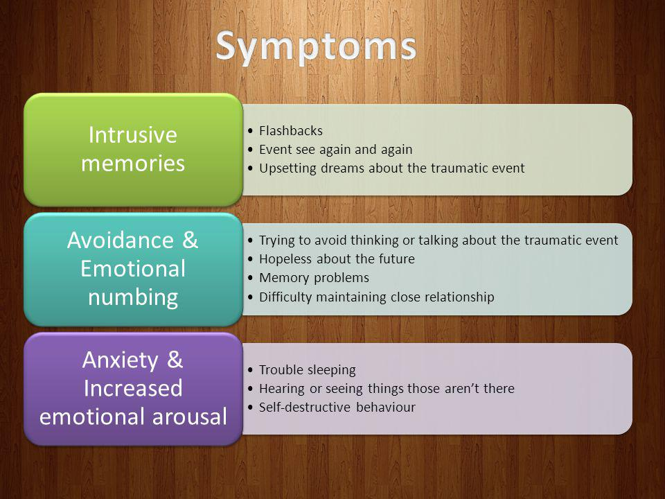 Symptoms Intrusive memories Flashbacks Event see again and again