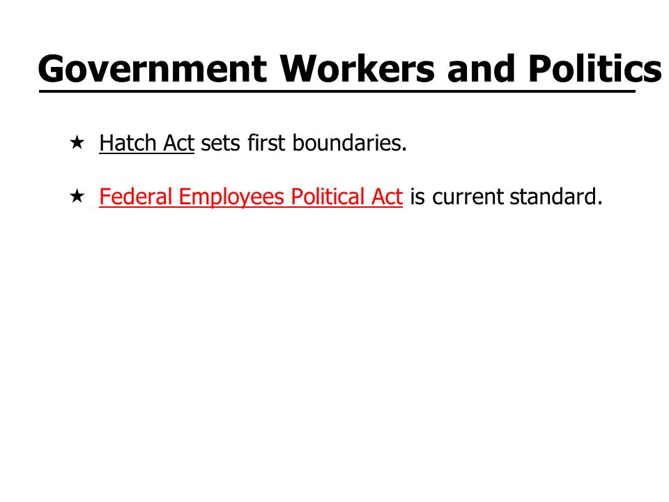 Government Workers and Politics