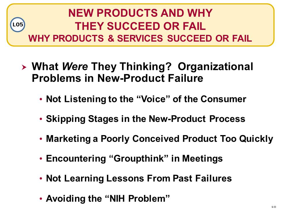 NEW PRODUCTS AND WHY THEY SUCCEED OR FAIL WHY PRODUCTS & SERVICES SUCCEED OR FAIL