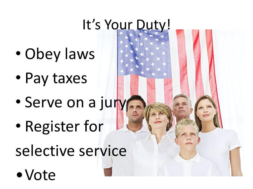 Obey laws Pay taxes Serve on a jury Register for selective service