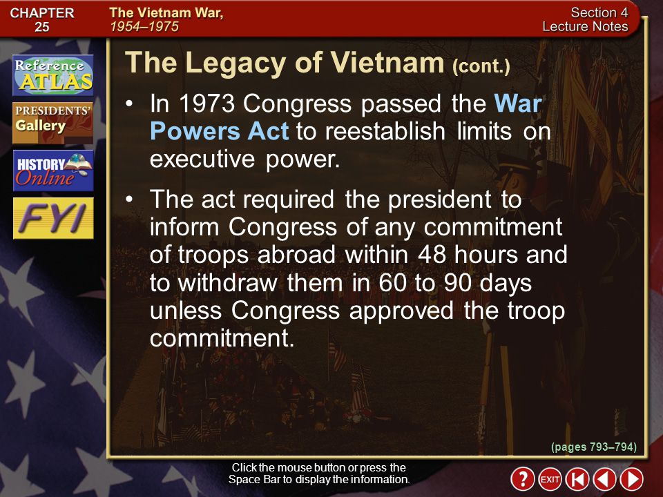 The Legacy of Vietnam (cont.)