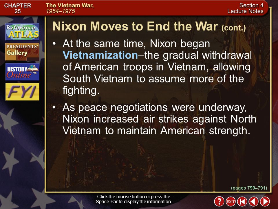 Nixon Moves to End the War (cont.)