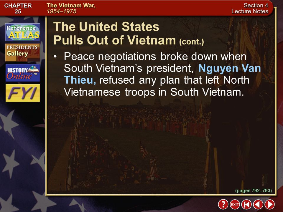 The United States Pulls Out of Vietnam (cont.)
