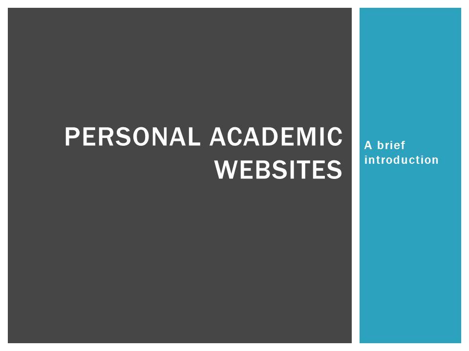Personal Academic Websites