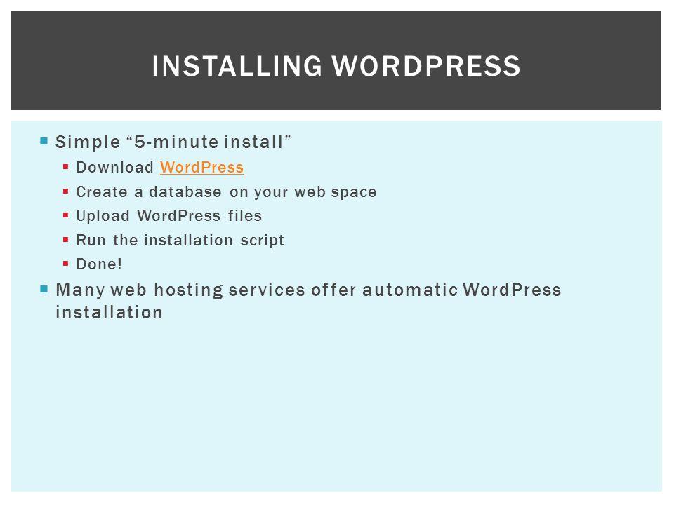 Installing WordPress Simple 5-minute install