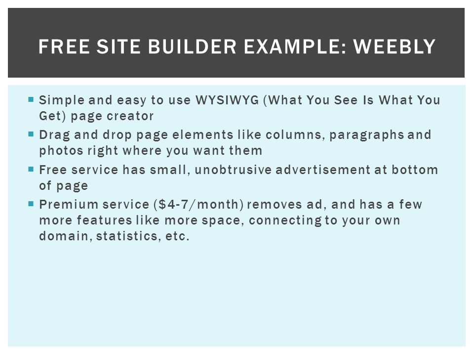 Free Site Builder Example: Weebly