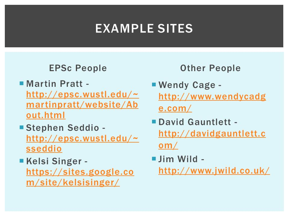 Example Sites EPSc People Other People